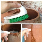 Brush off dirt then dampen one surface with water.  For a crack, just spray some water in it.