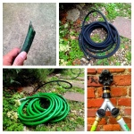 Rat damage to old leader hose, new soaker, magical hose bib splitter, new leader hose
