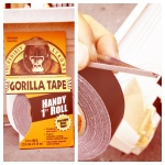 Wonderfully thick, flexible and tacky Gorilla Tape: it tears easily by hand and doesn't appreciably gum up scissors.