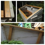 "Very simple construction without hinges or a latch - the two top ""legs"" rest against a screw inside the cold frame to keep it from sliding off.  To open: lift lid off and set aside."