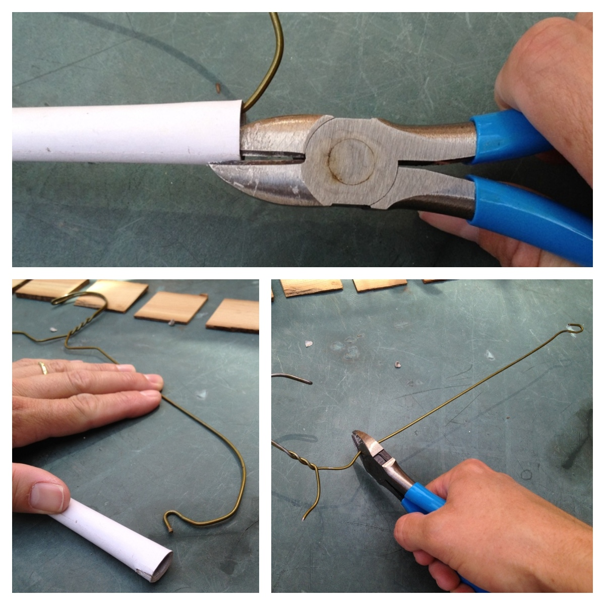 Turning wire hangers into stakes.